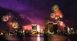 Fireworks over Miami, Florida