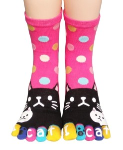 urban-coco-women-toe-socks-funky-finger-socks-lucky-cat-toes-socks-pink-series-2
